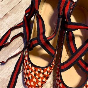 J. Crew Red Heart Pattern Ankle Wrap Heels